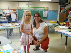 Kateri with her new teacher Miss Dayna