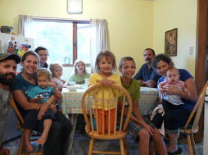 Lunch in our kitchen with some of Josh's family before they left.