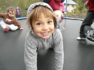 Gianna, having fun in the trampoline