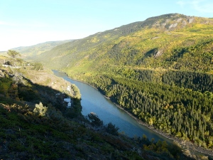 The Stikine River with the old town of Telegraph Creek along the bank